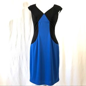 Adrianna Papell Blue and Black Colorblock Dress